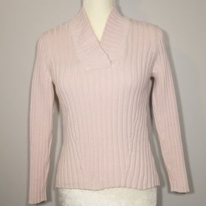 Caslon Pink Cotton Blend Ribbed Sweater - Petite S